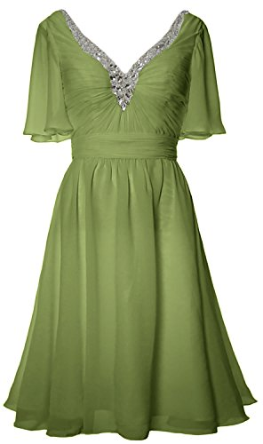MACloth Women Short Sleeves Mother of Bride Dress V Neck Evening Formal Gown clover