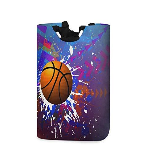 MNSRUU Aquarell Basketball Sport Ball Wäschekorb groß Aufbewahrungskorb mit Griffen für Geschenkkörbe, Schlafzimmer, Kleidung