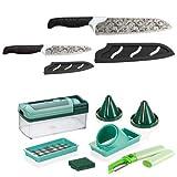 Genius Magic Cut inkl. Nicer Dicer Fusion Smart | 13 Teile | Universal-Chef-Messer | Obst- & Gemüseschneider | Bekannt aus TV | NEU