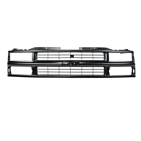CarPartsDepot, Front Plastic Grill Grille Painted Flat Black Bar Frame w/ Composite Headlamp Replacement, 400-15157 GM1200239 15981092 by CarPartsDepot