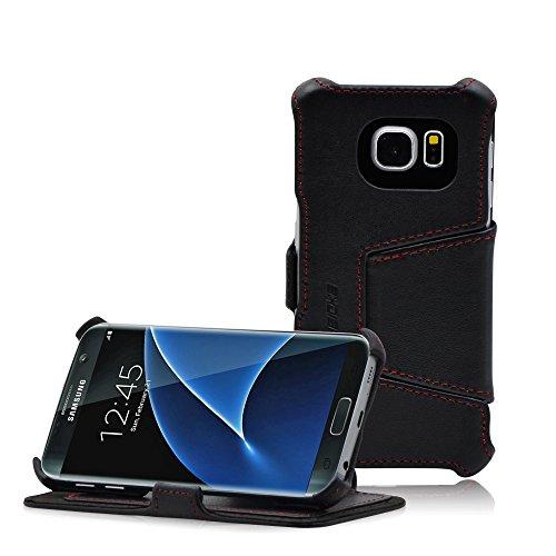 Custodia Galaxy S7 - MANNA cover protettivo per Samsung Galaxy S7 in Vera Pelle Nappa Nero con funzione Stand