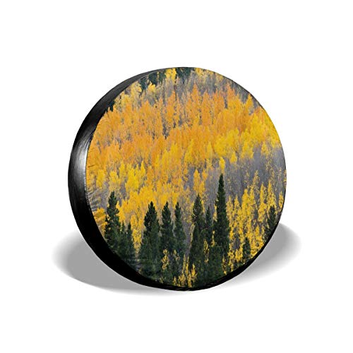 Usicapwear Tire Cover Tire Cover Wheel Covers,Colorful Aspen Forest In Colorado Rocky Mountains Western Wilderness USA Theme,for SUV Truck Camper Travel Trailer Accessories 14 inch -