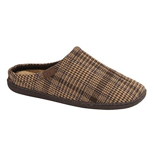 Jo & Joe Harrison Herren Pantoffeln, Tweed, Kunstfell, gefüttert, Größe 40-40, Braun/Mehrfarbig - Größe: 41.5 -