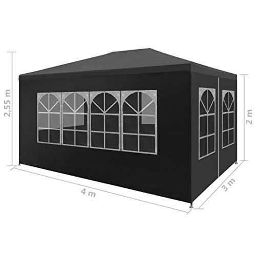Festnight- Partyzelt Pavillon 3 x 4 m Grau Gartenzelt Gartenpavillon Bierzelt, UV- und Wasserbest?ndig