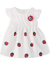 PAOLIAN Vestidos para bebe niñas Verano 2018 fiestas Conjuntos Sling Vestidos  Impresion de fresa Costura Floral Sin Manga Ropa para… 108f4cd1b621
