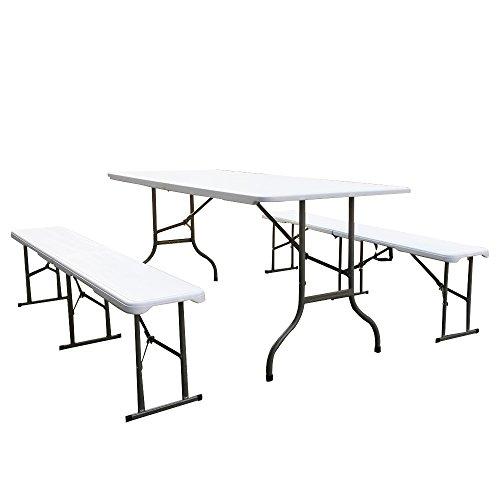 Ziigo Bierzeltgarnitur klappbar Stabile Kunststoff Festzeltgarnitur Gartenmöbel-Set mit Biertisch 180x74x75 und 2 Sitzbank 183x30x43 in Weiss