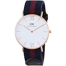 Daniel Wellington Women's Quartz Watch with White Dial Analogue Display and Multicolour Fabric Strap 0551DW