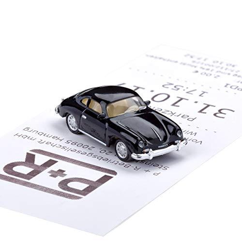 corpus delicti Magnetischer Parkscheinhalter für das Armaturenbrett - Modellauto mit Magnet und Selbstklebender Haftscheibe - Kultauto Porsche 356 A schwarz