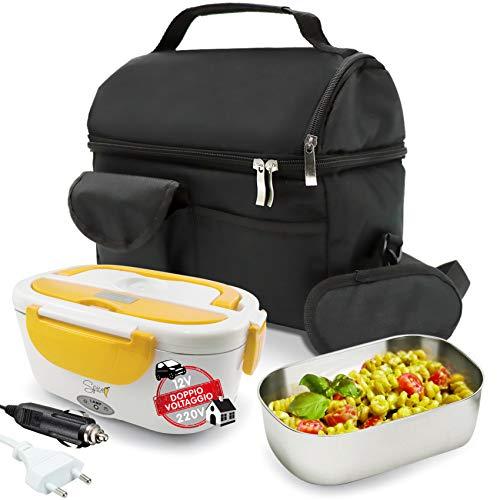 Spice set borsa termica con tracolla + scaldavivande doppio voltaggio 220 v - 12 v amarillo inox plus con vaschetta da 1,5 litri in acciaio inox