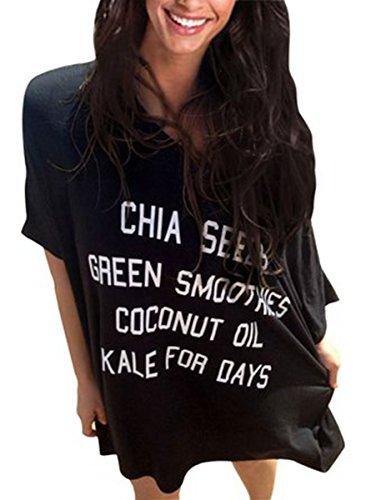 Jastore®7 T-Shirt ausgebeult Pareo Damen Strandponcho Sommer Überwurf Kaftan Strandkleid Bikini Cover Up bluse Schwarz-B