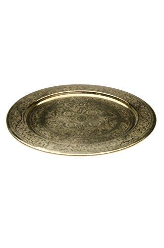 Orientalisches rundes Tablett aus Messing AFAF 30cm | Marokkanisches Teetablett in der Farbe Gold | Orient Serviertablett goldfarben | Orientalische Dekoration auf dem gedeckten Tisch