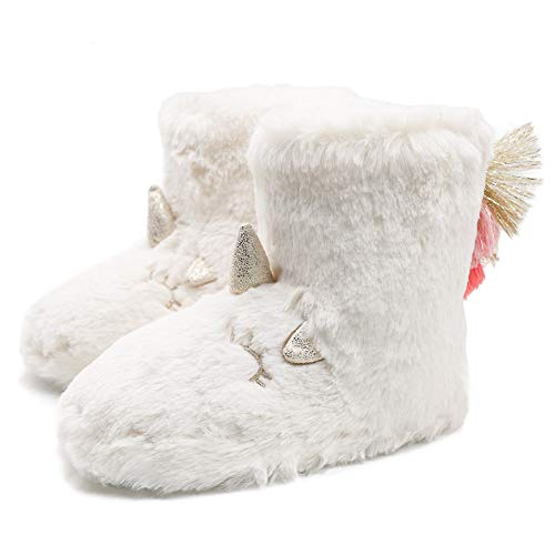 Ewaycom Girls Kids Toddler Cute Unicorn Slippers Warm Plush Fleece Winter House Shoes Rainbow Indoor Outdoor Slip-on Booties