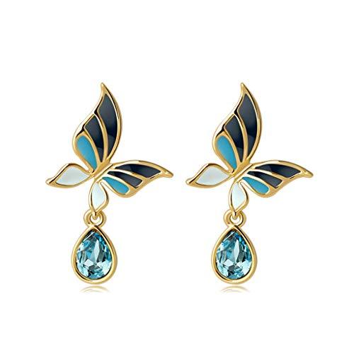 Duanguoyan Ohrringe- Mode Wilder Schmetterling Ohrringe Legierung Ohrschmuck (Color : Sea Blue)