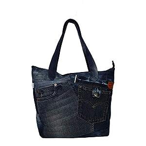 Shopper Tasche Denim Damen Handtasche aus alten Jeans – groß & stark für täglichen Gebrauch Dunkelblau