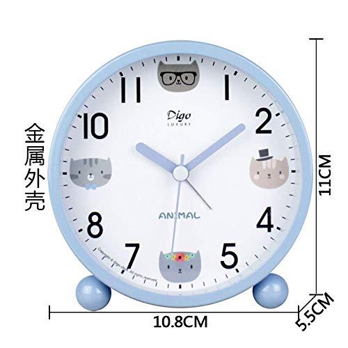 Mzbbn Despertador Analógico Linda Chica con Pequeño Despertador Azul Despertador
