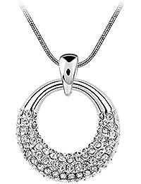 Le Premium® Fließende Moonlight Kristall Anhänger Halskette Kristallklar Weißes Gold überzogen