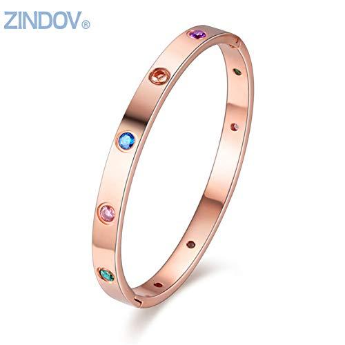 HUSHOUZHUO Frauen-Armband-Armband-Edelstahl-Armband-Goldfrauen-Marken-Modeschmuck-Rosen-Goldbunte Armband-Frau