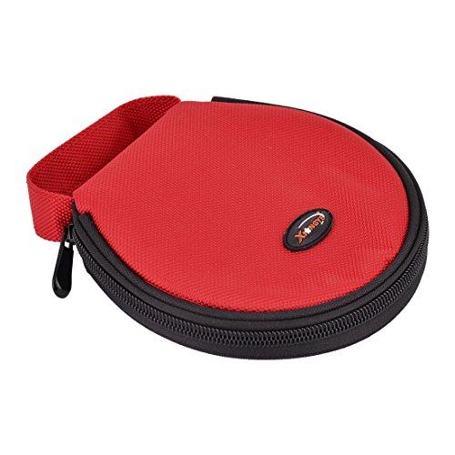 sourcingmap® Haus Auto Nylon Hände Reißverschluss Runde Kisten CDHalter Tasche Rot 20 Platten (Dvd Aufbewahrung Reißverschluss-tasche)