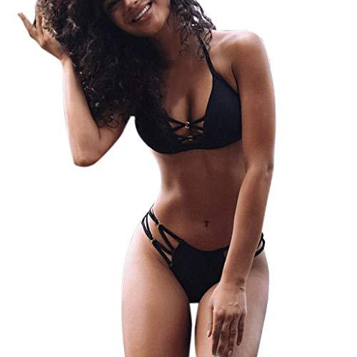 BaZhaHei Damen Sommer Elegante Boho Vintage Bikini Sets Mode Frauen Sexy Bikini Set Einfarbig Sport Push-Up Gepolsterter Badeanzug Triangel Bikinihose Sexy Halter Bademode Bikini-Sets (L, Schwarz)