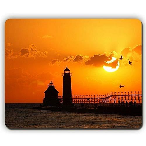 Hochwertige Mausunterlage, Vogel-Sonnenuntergang-Leuchtturm, Game Office Mousepad