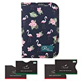Tuscall Travel Wallet Passport Holder Document Card Organiser Case with Zip Closure Passport Money Boarding Passes Credit ID Cards well Organised - Flamingo (Print #2)