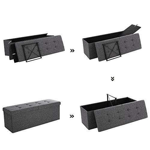 Songmics Sitztruhe 3-Sitzer Leinen, dunkelgrau, 110x38x38cm - 4