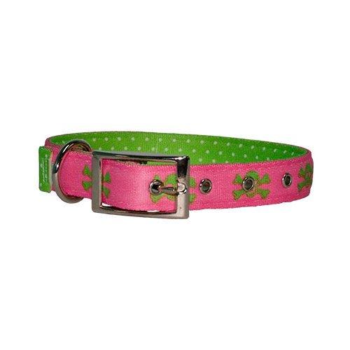 Yellow Dog Design Uptown Halsband, extra groß, Rosa/Grün Skulls auf Grün Polka (Uptown Kragen Hund)