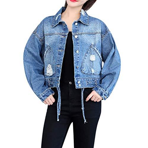 Zolimx Frauen Langarm Jeansjacke Jacke, Womens lose Jean Jacke Lange Ärmel Denim Mantel Retro Cowboy Freizeitjacke Lange Ärmel Denim Jacke