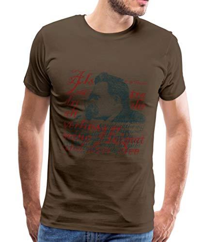 Spreadshirt F.W. Nietzsche Typografie Männer Premium T-Shirt, XL, Edelbraun -
