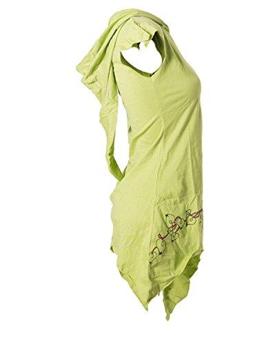 Vishes – Alternative Bekleidung – Asymmetrische Baumwolltunika mit Zipfelkapuze und Ranken bestickt Hellgrün
