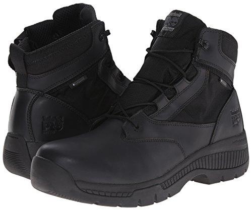 Timberland PRO Men s 6 inch Valor Soft Toe Waterproof Side Zip Work Boot  Black Smooth Leather Ballistic Nylon  3 5 W US