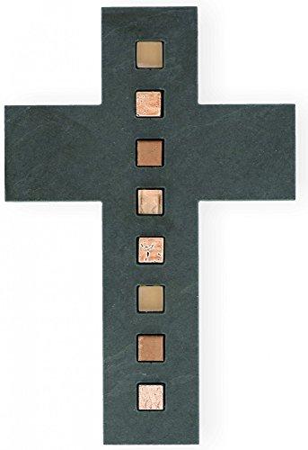 Wandkreuz Schiefer Inlays Mosaiksteine Kreuz 26 cm Unikat modern Schieferkreuz -