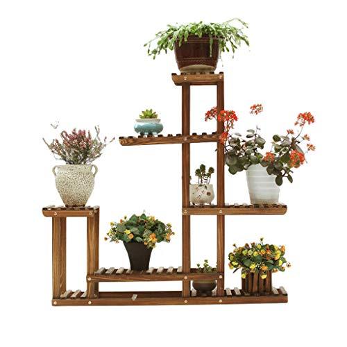 LALAWO Massivholz Kohlenstoff geröstet Blume Rack Sukkulenten Multi-Layer Rack Holz Anti-Korrosion Innen- und Outdoor Wohnzimmer Balkon Blumentopf Halter Haushalt