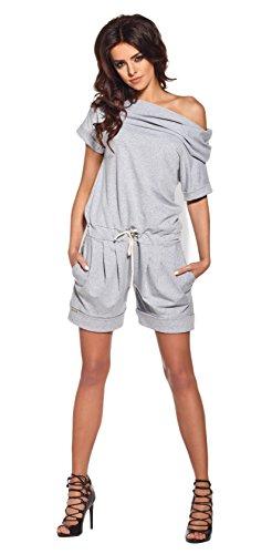 Lemoniade stylischer Jumpsuit ohne Ärmel mit elegantem Wasserfallkragen und ausgefallener Schnürung an der Hüfte (M (38), Modell 2 Hellgrau)