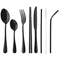 loopki Reusable Cutlery Set with Case, Portable Reusable Travel Cutlery Set Travel Utensils Set with Straws for Hiking Traveling Camping or School Lunch,Dishwasher Safe