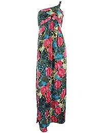 Bliss Frauen Blumen / Zickzack Drucken Boobtube Bandeaukleider One-Shoulder-Kleid Strappy Maxi kleid