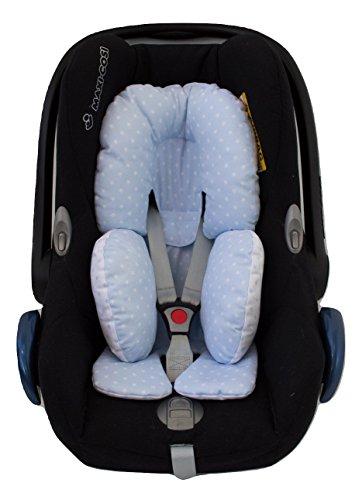 Universal Auto-Sitzverkleinerer für Gruppe 0, Maxi Cosi, Babyschale, Babywippe oder Kinderwagen. Verfügbar in mehrere Modellen und Farbene (Sterne Hellblau)
