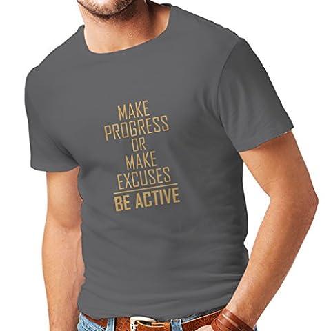 """Männer T-Shirt """"Be Active - leben ohne Ausreden"""" - Motivation - inspirierend tägliche Angebote für Erfolg (X-Large Graphit Gold)"""