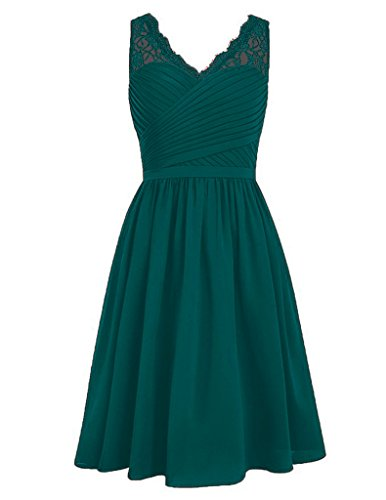 HUINI V-Ausschnitt Chiffon Brautjungfernkleider Kurz Ballkleid Kniel?nge Abendkleid Spitze Peacock (Poofy Kleider)