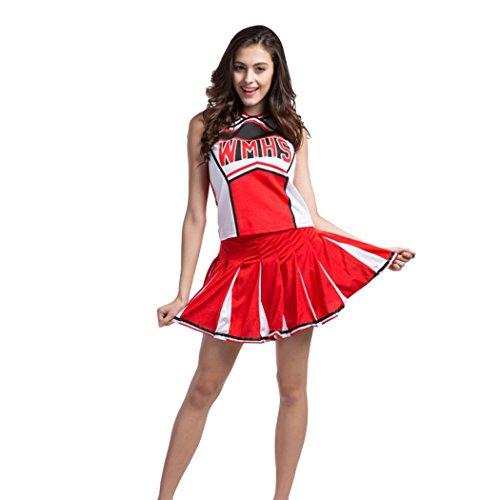 VENI MASEE Sexy Damen Varsity Abitur Cheer Mädchen Cheerleading Uniform Halloween Kostüm (Cheerleader Kostüm Frauen)