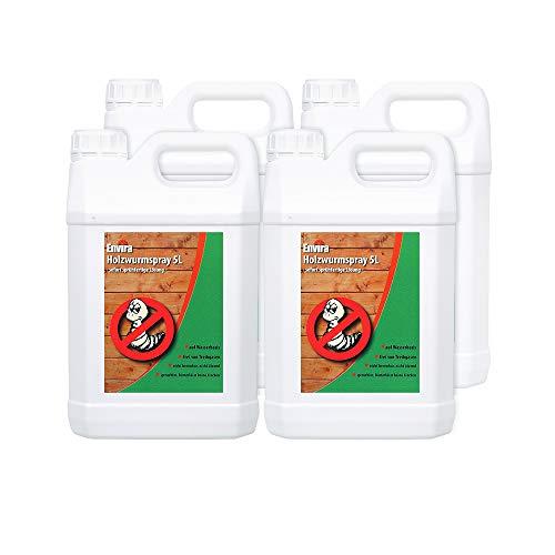 Envira Holzwurm-Spray - Holzwurm Ex Gegen Holzschädigende Insekten Mit Langzeitschutz - Auf Wasserbasis - 4 x 5L