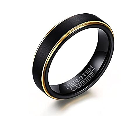 Vnox Men's Tungsten Carbide Band Matte Finish Wedding Promised Ring Black Gold,5mm,UK Size P 1/2