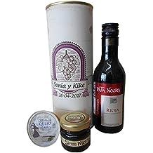 Botella de vino Pata Negra con crema de queso de cabra y miel en lata personalizada