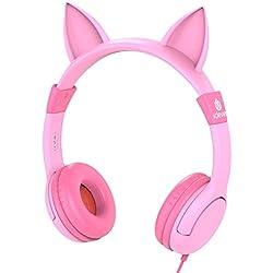 Auriculares para niños, iClever Volume Limiting Auriculares para niños sobre el oído Auriculares para bebés con diseño estéreo ajustable Cat para iPhone iPad mini iPad Tablets PC MP3, rosa