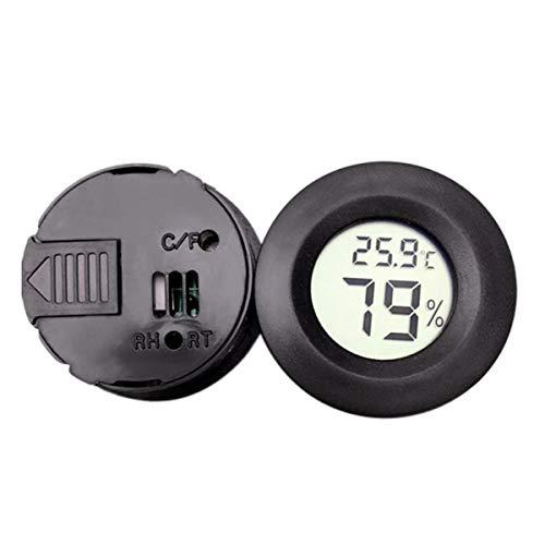 Leyeet Mini Digital Thermometer Elektronische Hygrometer Runde Temperatur-Und Feuchtigkeitsmessgerät Tester für Pet Box und mehr (Color : Black)