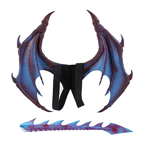 Nwlzx Halloween Karneval Drachen Kostüm für Erwachsene - Flügel,Schwanz(2-Teiliges)-Blue