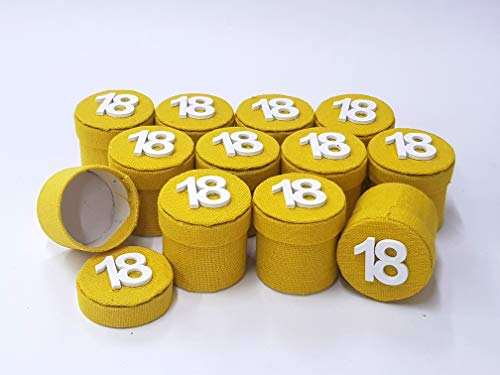 Takestop® set 12 pezzi bomboniera bomboniere scatolina giallo con scritta numero 18 anni festa compleanno portaconfetti porta confetti