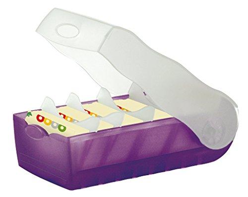 HAN Lernkarteibox CROCO 998-673, DIN A8 quer in Transluzent/Lila/ Karteikasten für regelmäßiges Vokabeln lernen dank 5-Fächer-Lernsystem / Idealer Schulbedarf