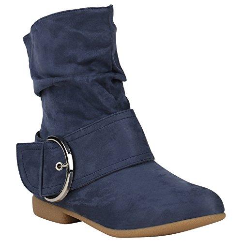 Stiefelparadies Damen Schuhe Schlupfstiefel Schnallen Stiefeletten Leder-Optik 150470 Blau Schnallen 38 Flandell