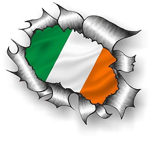 Lizenziert Große Zerrissen Metall Rip Design mit Irland Irisch Irl Nationalflagge Motiv Externe Auto Aufkleber 205x160mm -